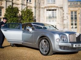 Silver Bentley Mulsanne for weddings in Southampton