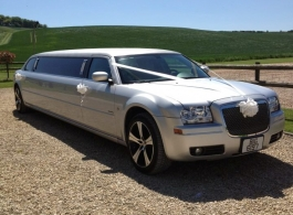 Silver Chrysler Limousine for weddings in Oxford