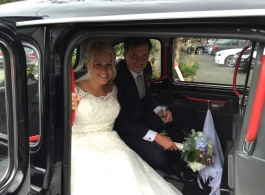Black London Taxi for wedding hire in Hereford