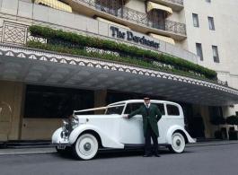 White vintage Rolls Royce in London