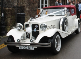 White Beauford wedding car hire in Tunbridge Wells
