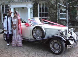 White convertible Beauford wedding car for hire in Slough