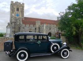 Vintage American wedding car in Rochester, Kent