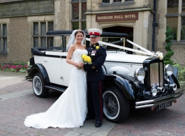 Ivory and Black vintage wedding car hire in St Albans