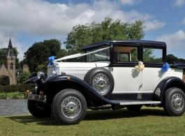 Vintage White wedding car hire In Newark