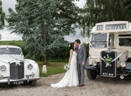 Vintage White bus for wedding hire in Shrewsbury