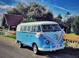 White and Blue Campervan for wedding hire in Ashford