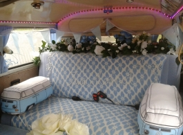 Blue VW Campervan for weddings in Winchester