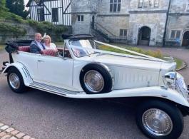 White Beauford wedding car in Tunbridge Wells