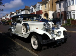White vintage Beauford for weddings in Chichester