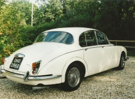 Classic White Daimler for weddings in Dortchester