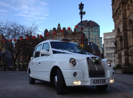 White London cab for weddings in Manchester