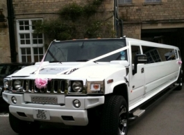 White Stretch Hummer for weddings and events in Oxford