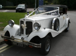 White convertible Beauford for wedding hire in Fareham