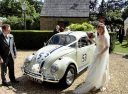 White VW Beetle wedding car in Hampshire