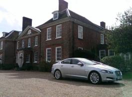 Modern Silver Jaguar for weddings in Hythe