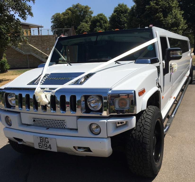 White Hummer Hummer Limousine Wedding Hire In Swindon